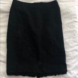 Jcrew black pencil skirt with fringe (size 6)